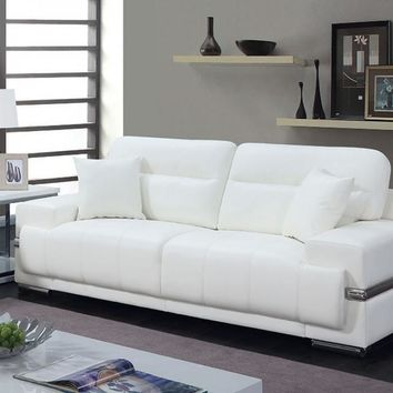 Breathable Leatherette Sofa With Pillows, White