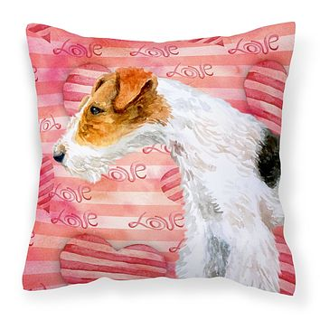 Fox Terrier Love Fabric Decorative Pillow BB9737PW1818