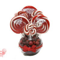 Small Red Lollipop Centerpiece, Red Wedding Centerpiece, Red, Lollipop, Candy, Wedding, Centerpiece, Valentines day, Valentines, birthday