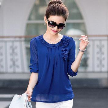 New Blusas Femininas Spring Casual Women Ruffles Blouses Long Sleeve Elegant Women Tops OL Shirts with flower 72377 SM6