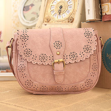 Women Rural Hollow Out Leather Crossbody Bag