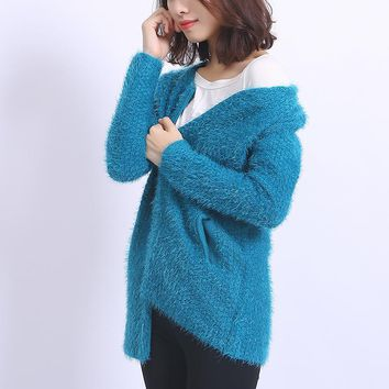 2016 New Autumn Winter Long Sleeve Knitted Cardigans Women Sweater Coat Casual Fashion Long Mohair Cardigans
