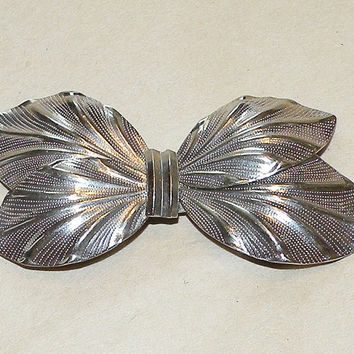 Vintage Scarf Clip Scarf Buckle 2 Piece Scarf Jewelry Silver Tone Bow Scarf Clip