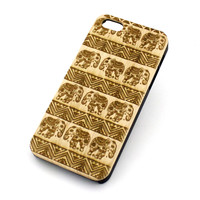 Genuine Wood Case - AZTEC LOTUS ELEPHANT