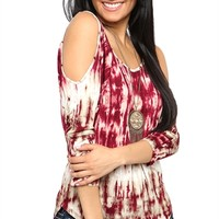 Tie Dye Cold Shoulder Top with Keyhole Back