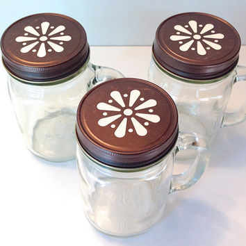 Mason Jar Drinking Mugs- 6 Pint Mason Jars with Rustic Bronze Daisy Cap and Handle, Favors, Storage, Mixes