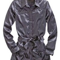 Solid Grey Poly Satin Tin Haul Collection Long Sleeve Urban Western Wear