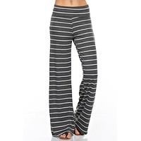 Striped Charcoal White Casual Lounge Pants