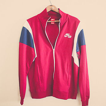 90's Vintage Nike Air Windbreaker Track Jacket Sweatshirt Coat Jacket Hipster Full Zipper Front Size Large Color Blocking Red Tag Maroon