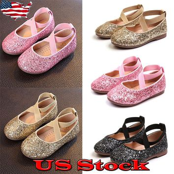 Girls Toddler Princess Shoes Glitter Strip Cross Ballet Dress Kid Flat Heels US