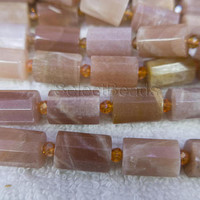 pink sunstone faceted tube beads - natural sunstone gem beads for jewelry - pipe beads supplies - 10x14mm tube beads - 15inch