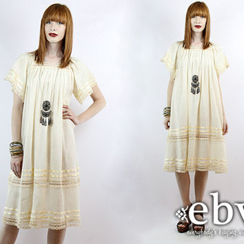 Vintage 70s Cream Crochet Lace Dress S M L Hippie Wedding Dress Hippie Dress Hippy Dress Boho Dress Hippy Wedding Dress Boho Wedding Dress