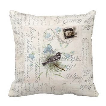 Vintage Bird Flowers Italian Postcard Pillow