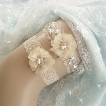 Champagne Wedding Garter / Tea Stained / Rhinestone Garter / Crystal Garter / Toss Garter / Garter Belt / Garder