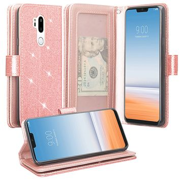 LG G7 ThinQ, LM-G710, G7+ ThinQ Case, [Wrist Strap] Glitter Faux Leather Flip [Kickstand Feature] Protective Wallet Case Cover Clutch - Rose Gold