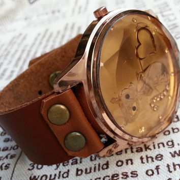 Wrist Watch 038: Leather Watch, Fox Face Watch, Unisex Vintage watch, Personalized charm Best Chosen Gift