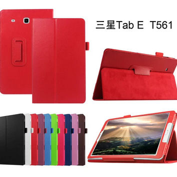 for Samsung Galaxy Tab E 9.6 T560 T561 Tablet cover case Litchi skin Leather stand capa para + stylus pen as gift
