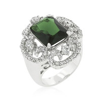Silvertone Green Cocktail Ring, size : 06