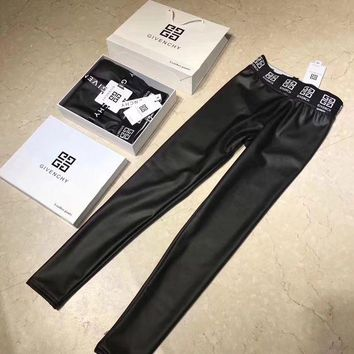 ONETOW Givenchy Women Leather Tight Winter Wool Pants Trousers
