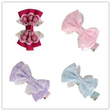 LMF78W Girl's Hair Clips delicate 2017 girl hair accessories Cute Lace Bowknot Girl Hairpin Child Hair Accessories W80 @