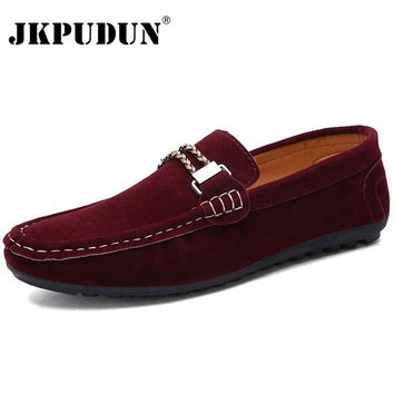 JKPUDUN British Style Leather Men Shoes Luxury Brand Penny Loafers Italian Fashion Designer Shoes Men High Quality Casual Flats