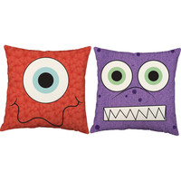 Set of 2 Funny Monster Pillows - Kid's Throw Pillow Covers with or without Cushion Inserts - Silly Monster, Monster Pillow, Playroom Pillow