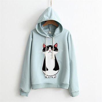Standing Cat Embroidered Solid Color Hoodies