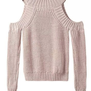 Fashion High Neck Strapless Outfitis Casual Cold Shoulder Knit Sweater