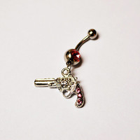 Pink Gun Belly Button Ring, Gun Navel Jewelry, belly ring, pistol belly button ring, belly jewelry, bell peircing