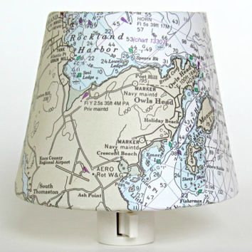 Beach Decor; Nautical Chart Night Light of Rockland Maine - Old Nautical Map Nightlight; 1993 Vintage Reproduction Chart
