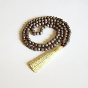 Grey 108 mala tassel necklace, 108 mala bead necklace, Grey wood bead tassel necklace, Grey jewelry with light yellow tassel