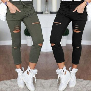 High Waist Slim Skinny Women Leggings Stretchy Pants Jeggings Pencil Pants Trousers Ripped Pants Slim Stretch Drawstring Pants