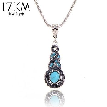 17KM Crystal Tibetan Rhinestone Cross Geometric Necklace For Woman Round Charming Blue Stone Infinity Pendant Necklace Jewelry