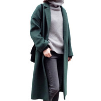 Autumn Winter Coat Women Warm Wool Coat 2016 Long Casual Loose Cashmere Coat European Fashion Woolen Jacket Outwear AA32