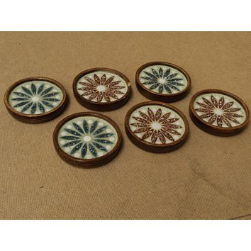Handcrafted Flower Coasters 3 1/2in x 3 1/2in x 3/4in Set of 6 Glass Wood -- Used