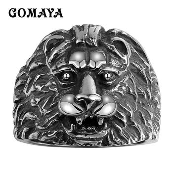 GOMAYA Mens Rings Lion Head Fashion Stainless Steel Jewelry Cool Animal Punk Personality Rings for Men Biker