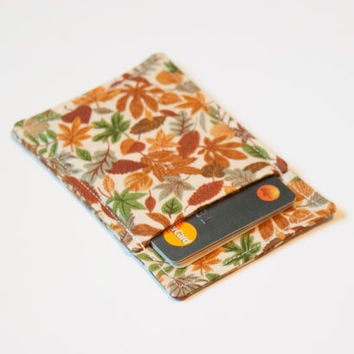 Fall Autumn wallet - Minimalist wallet - Slim business card holder - Business card holder - Womens Men wallet - Card wallet - Modern wallet