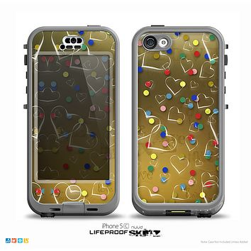 The Gold Hearts and Confetti Pattern Skin for the iPhone 5c nüüd LifeProof Case