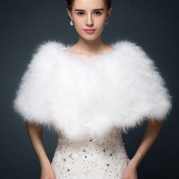 Luxurious White ivory  ostrich feathers Fur Boleros wedding bride jacket shrug bolero coat bridal party shawls