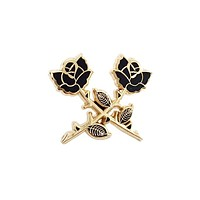 Crossed Roses Pin - Gold
