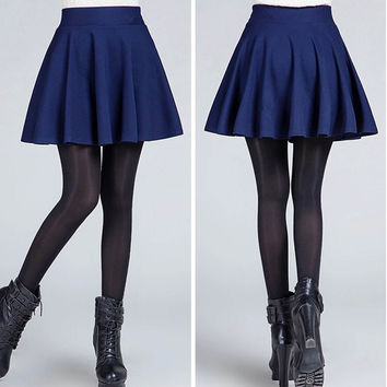 Plain Skater Flared Pleated Mini Skirt