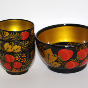 Khokhloma Original Russian Set of 4 - Hand Painted Lacquer Wooden Bowls - Made in Russia - Collectible Handmade Russian Traditional Folk Art