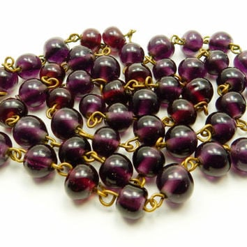 Purple Lampwork, Bead Necklace, Jewelry Supply. 1920s 1930s, Flapper Necklace, Brass Chain, Cranberry Artisan, Bead Chain, Boho Chic Jewelry