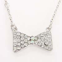 White Rhinestone Bow Pendent Necklace