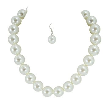Mod 60's Pinup Chunky Faux Pearl Bridal Cocktail Party Statement Necklace & Earrings Set