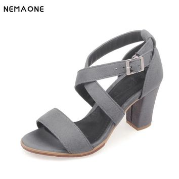 NEMAONE 2016 black open toe sandals women summer sexy high-heeled pumps shoes sandals female wide heel strap sandals