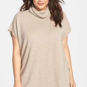 Plus Size Women's Eileen Fisher Short Sleeve Cashmere Turtleneck Tunic,