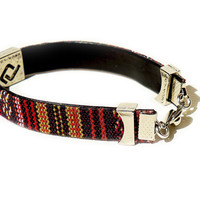 Maroon Striped Layering Bracelet