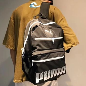 PUMA Fashion New Letter Print High Capacity Leather Couple Backpack Bag Black