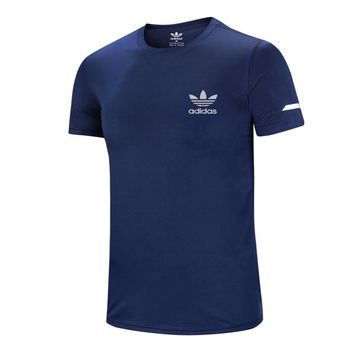 ADIDAS Clover 2018 autumn new sports casual breathable round neck T-shirt Blue